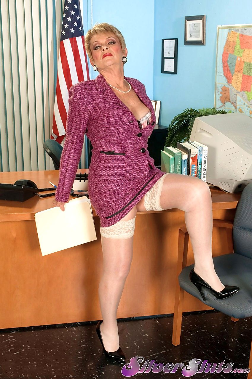 Granny Lin Boyde seduces a guy in her office which leads to some pounding