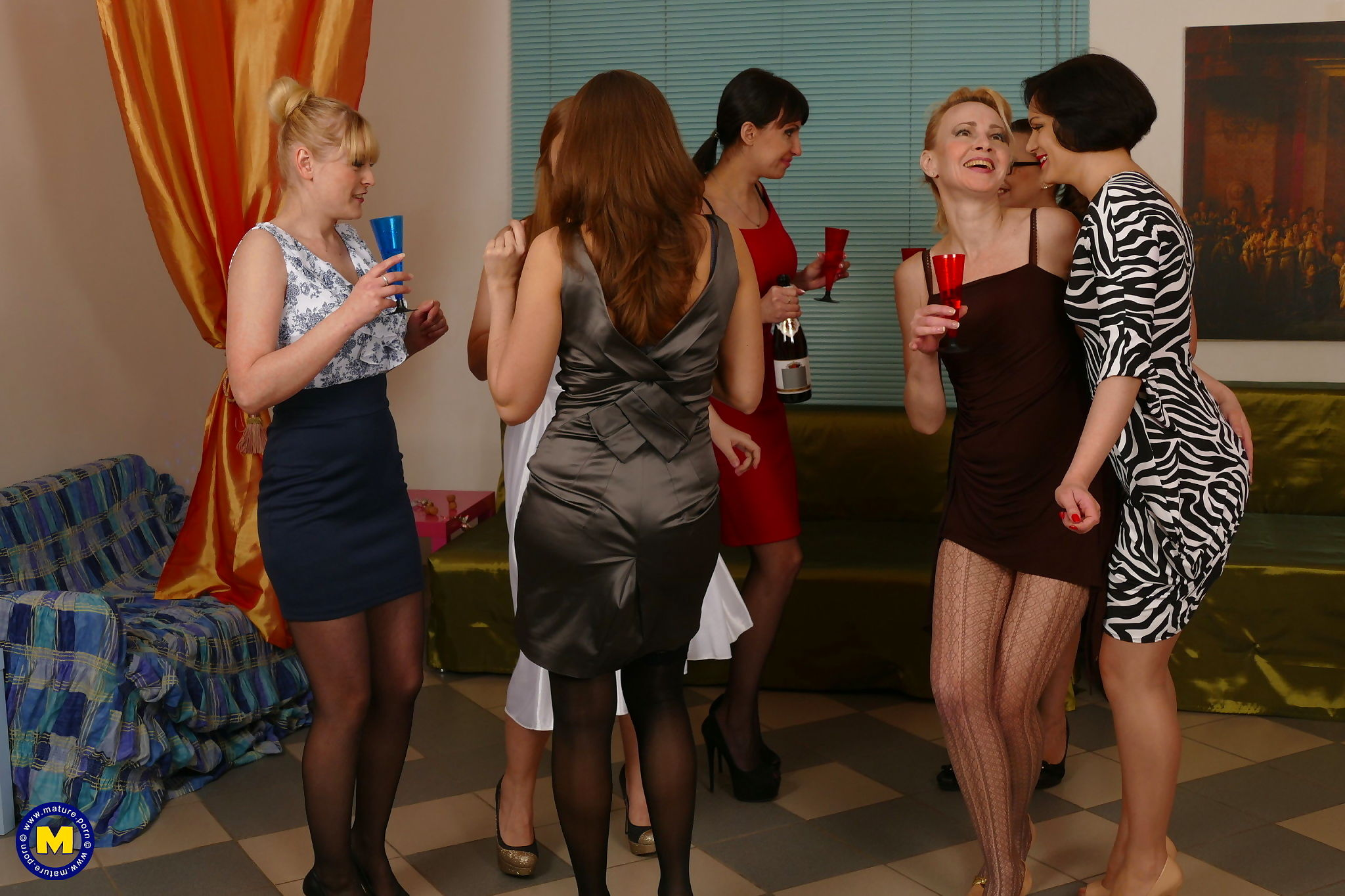 Seven old and young lesbians have one spectacular groupsex sessi - part 2460