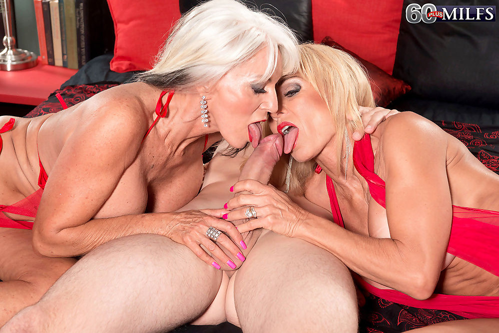 Two hot grannies sucking one huge dick - part 4265