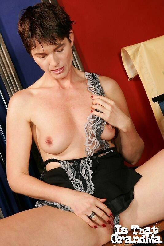 Brunette grandma marketa stripping seductively and dildoing her snatch on the bi - part 4909
