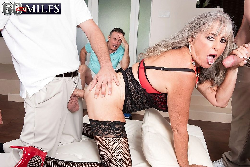 Granny threeway cuckold sex session - part 576