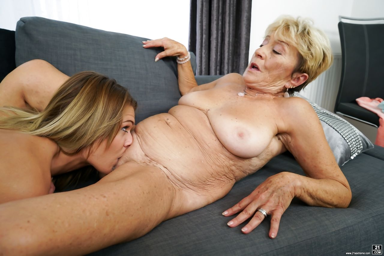 Blonde grandmother and her step-granddaughter have lesbian sex