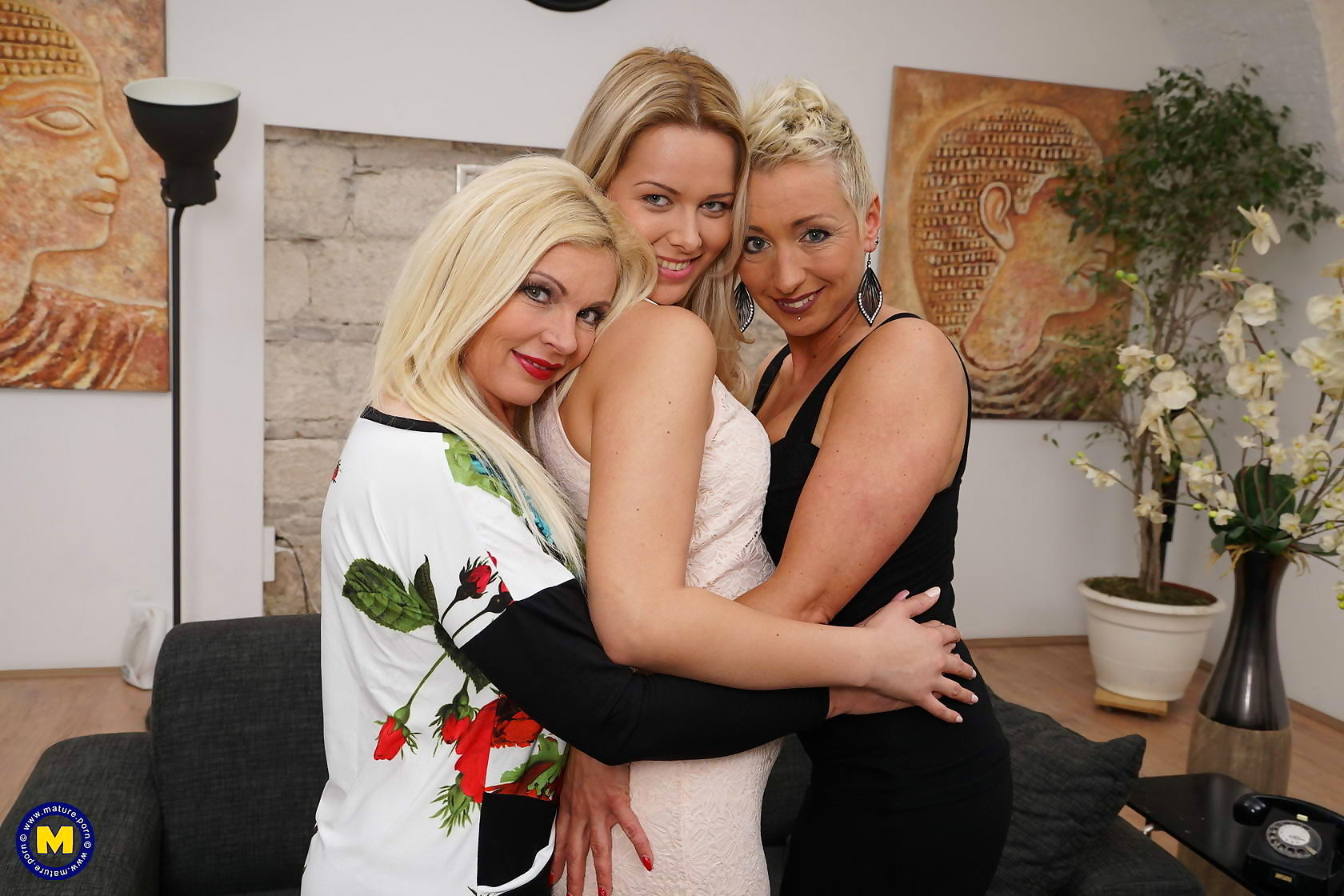 Three old and young lesbians have fun on the couch - part 1635