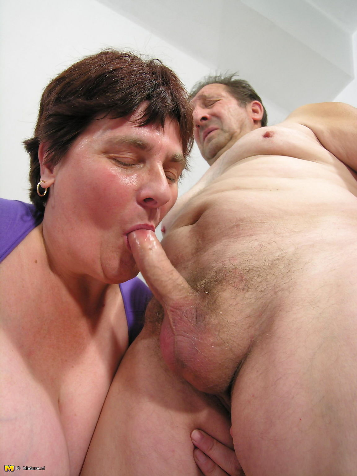 Big mama enjoying two old cocks - part 626