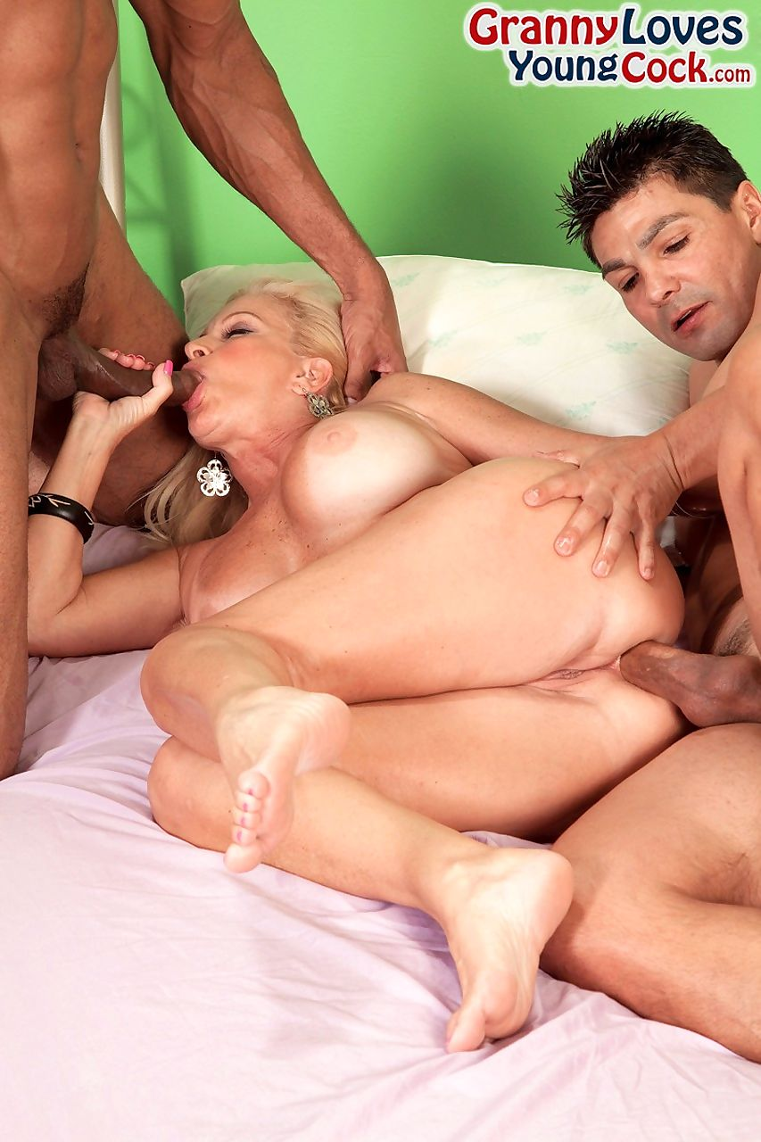 Hot grandmother Julia Butt fucks 2 guys that discover shes a nude model