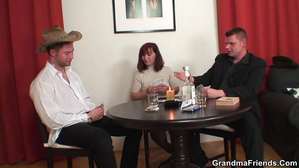 She gives up her pussy in the poker match and the guys end up fucking her there - part 949