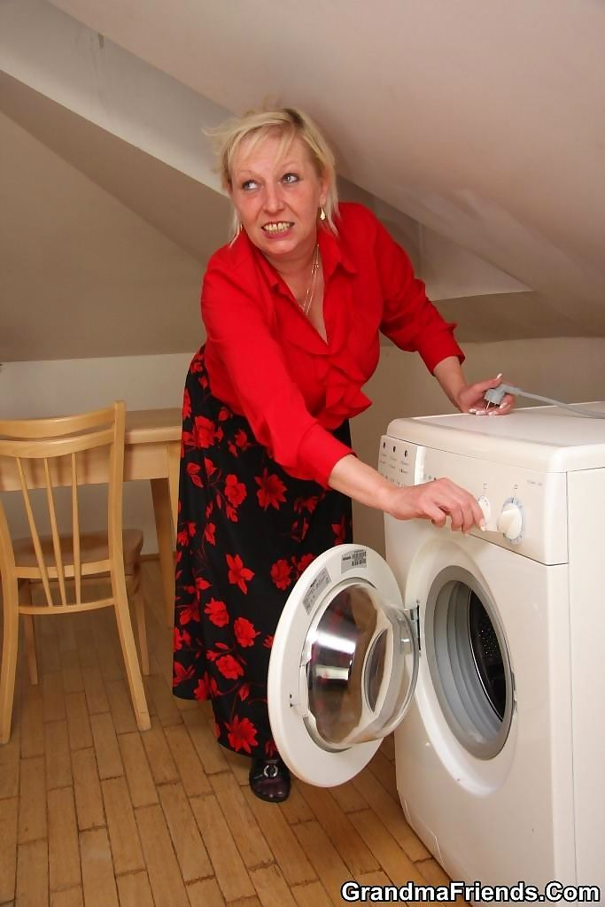 Mature threesome where the young repairmen fix her washing machine and plug her - part 2779