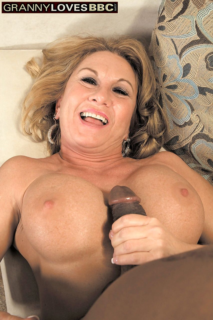 Blonde mature with fake tits Cali Houston takes care of a big black cock