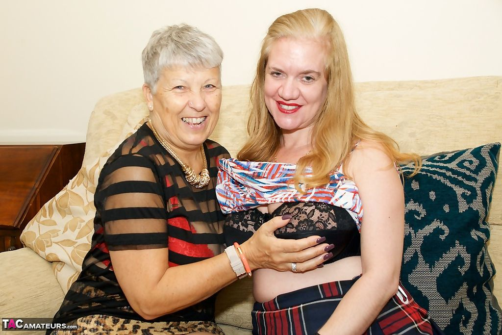 Horny nan and another older lady with saggy tits experiment with lesbian sex