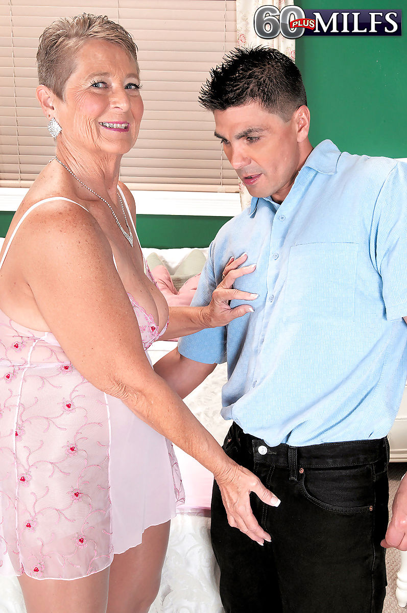 Horny nan Joanne Price seduces a young boy in a nightie and shiny pantyhose