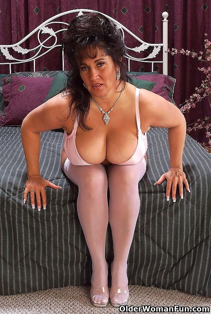 Grandma ashley strips off her white stockings - part 4456