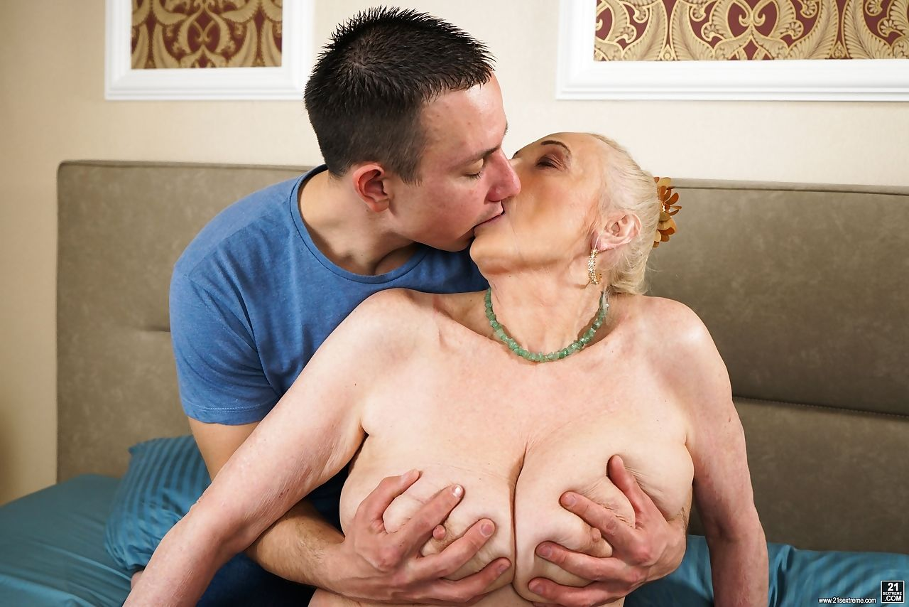 Old fatty with saggy breasts tastes her much younger lovers cum after fucking