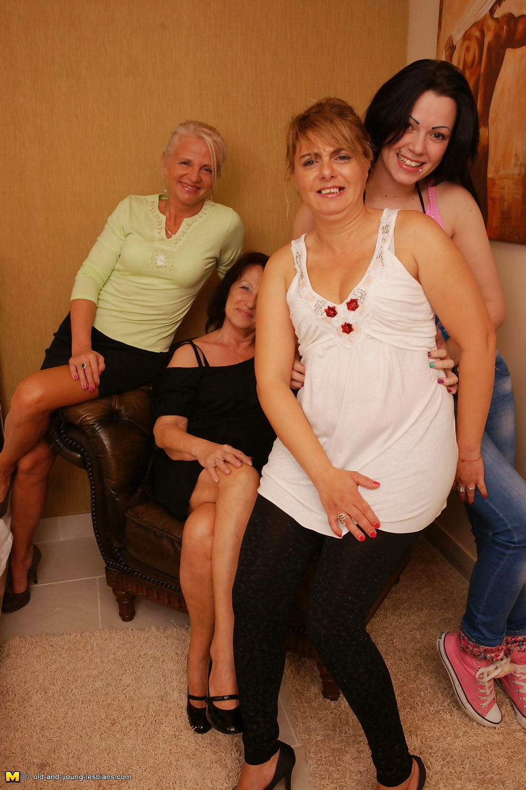 Four old and young lesbians having a ball - part 565