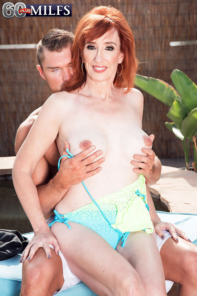 Natural redheaded granny diamond red bangs the pool boy after giving him nead - part 850