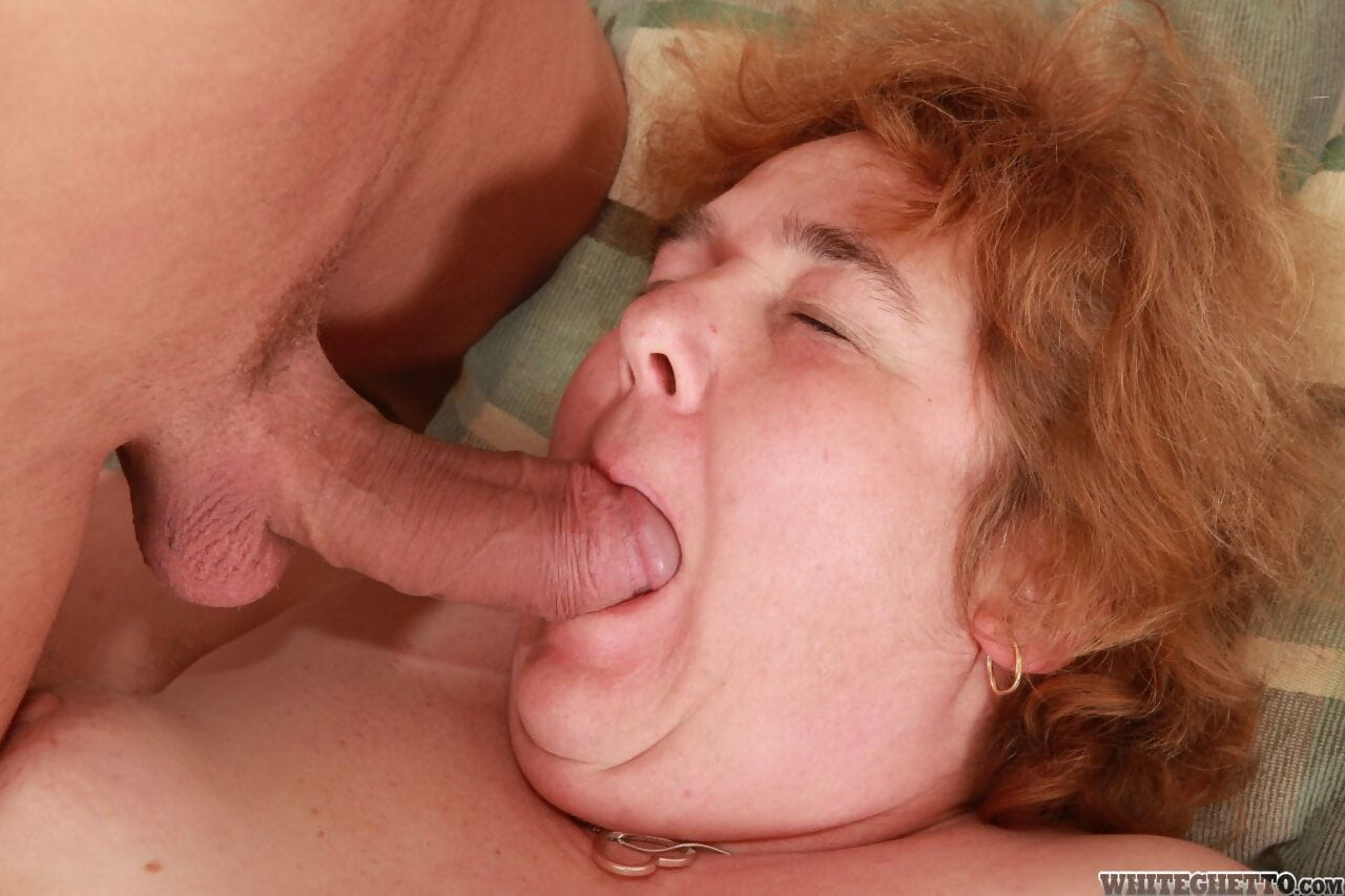 Obese ugly redhead flops on bed for cock sucking & fat hairy pussy fucking