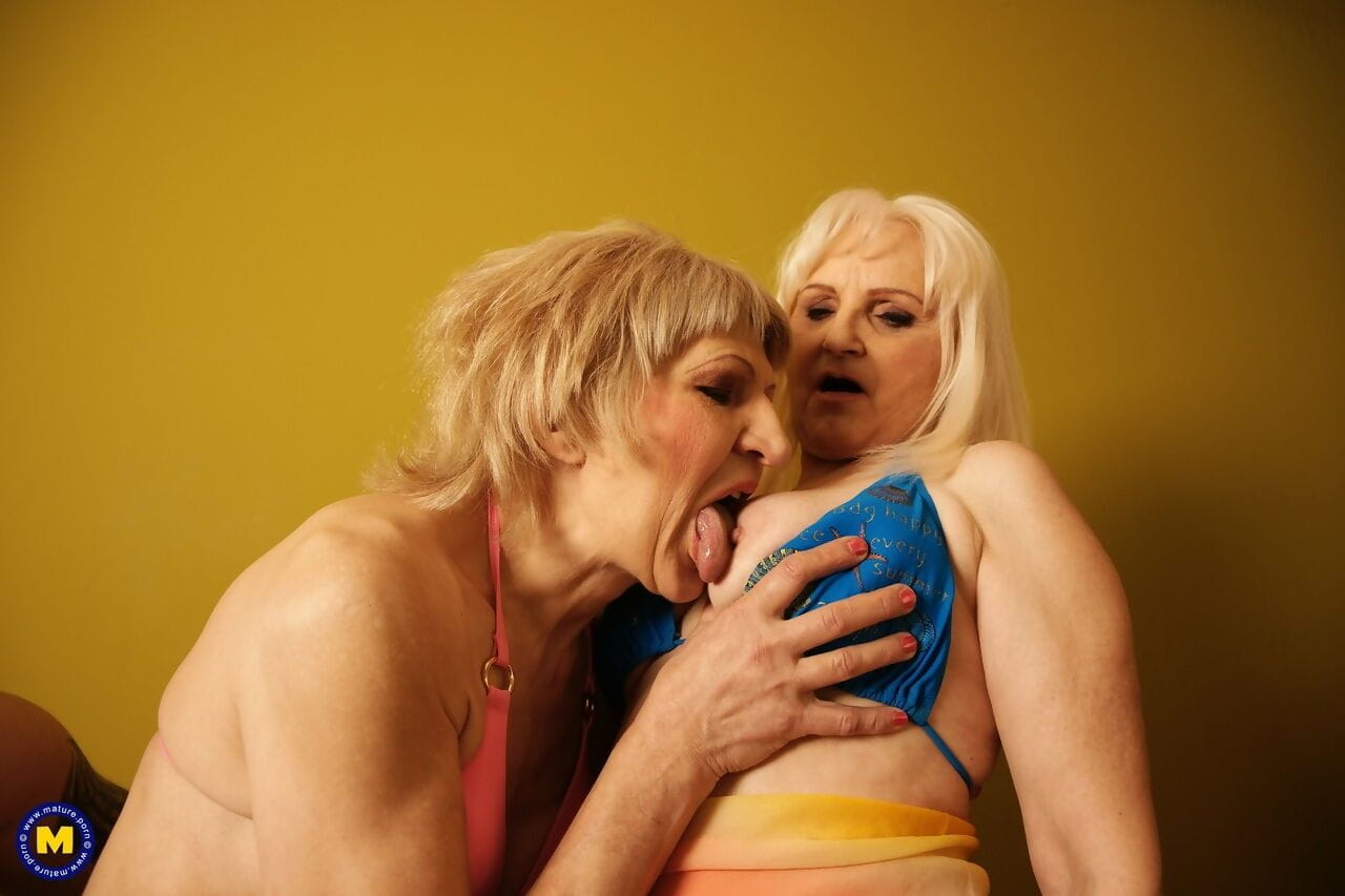 A group of older mature women get fresh facials in an eight-cock orgy