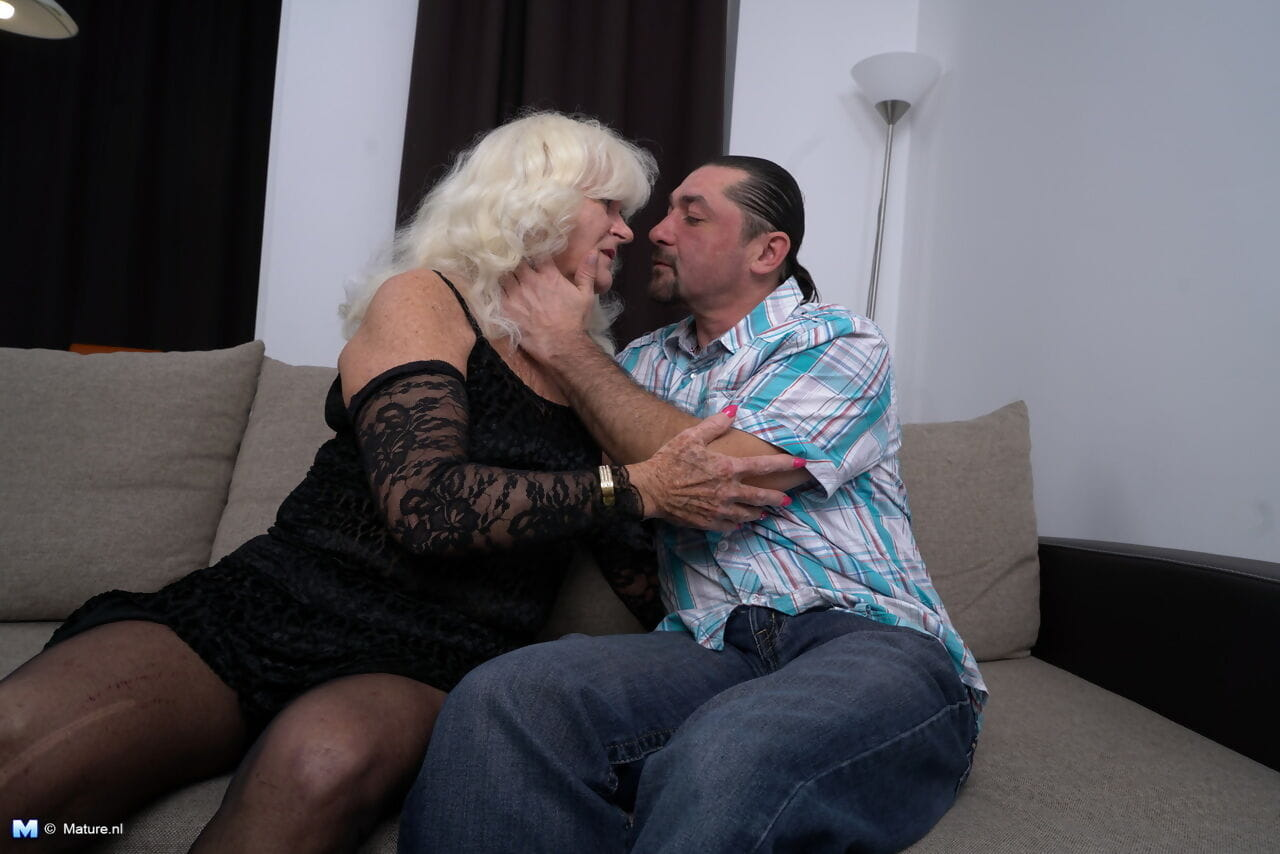 Horny old granny in lace lingerie gets her saggy tits sucked & doggystyle fuck
