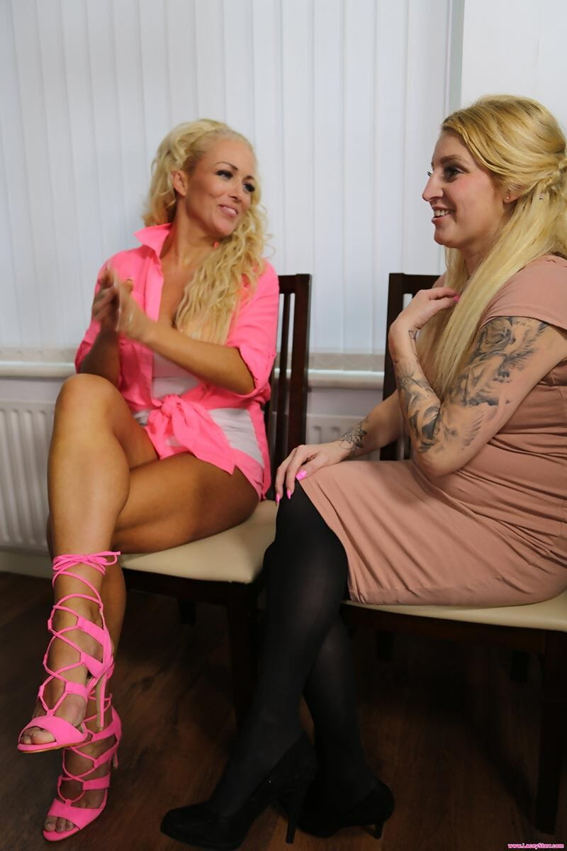 Older and younger blondes share a young mans hard cock on a massage table