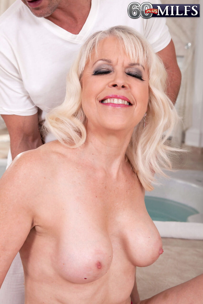 Older blonde woman Lady S is stripped and banged by a younger man
