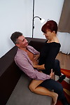 Crazy redhead granny with a tight body takes care of a horny man