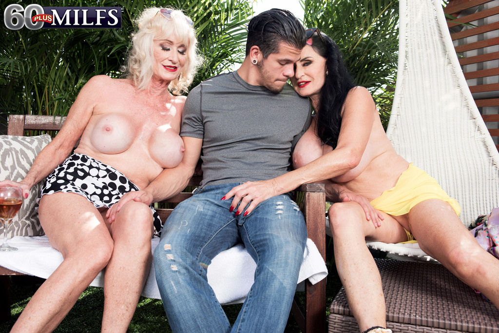 Horny grandmother Rita Daniels and her bi girlfriend seduce a young boy