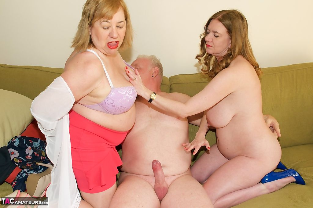 Horny granny shares hubbys cock with younger plump fatty in kinky threesome