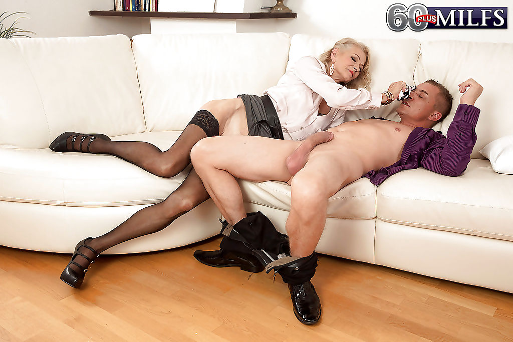 Euro granny Beata flashing a younger guy before fucking his brains out