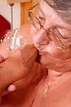 Horny old Grandma Libby gets herself a younger mature woman for toe sucking