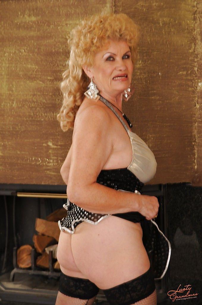 In nylon granny Pantyhose